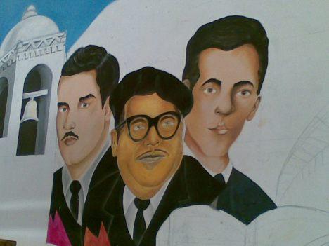 Personajes celebres de la ciudad de izq a der :Dionisio Romero,Ramon A. Amador,Francisco Murillo Soto