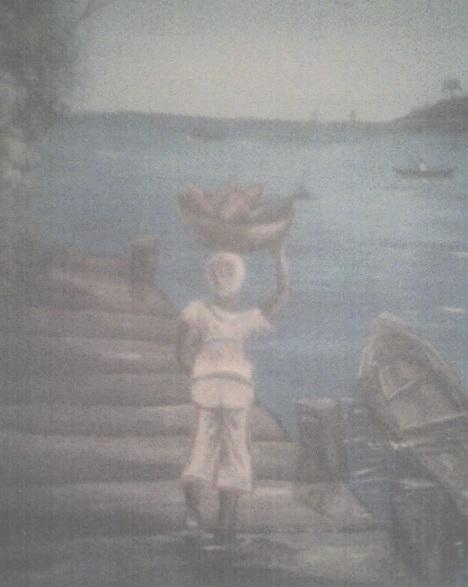 Mujer garifuna en la playa (autor desconocido)