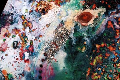 """Un detalle de su cuadro """"Espacio irreductible""""."""