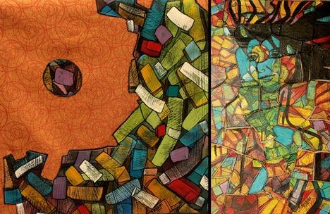 La mayoría de los lienzos que lleva a su viaje son de temática abstracta.