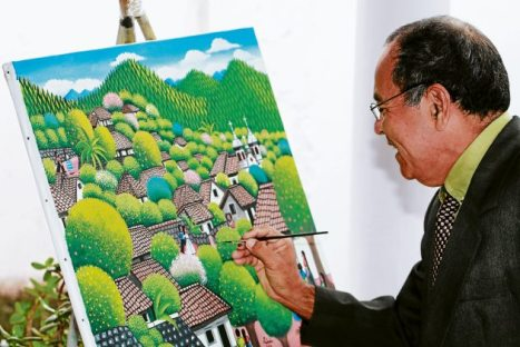 """Ángel Francisco Ardón. Este es uno de los trabajos que el artista está elaborando para un comprador austriaco. Se titula """"De paseo por Santa Lucía"""""""