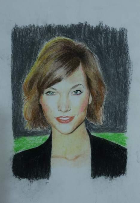 Retrato con colores pastel seco y  con lápiz de color.