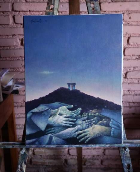 En sus pinturas no hay rostros, porque no es el cuerpo en general el que transmite el mensaje que quiere dar el pintor.
