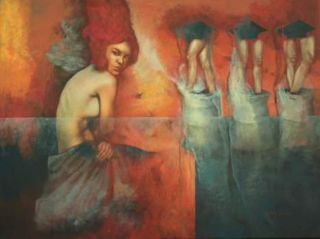 "Obra ""Línea de meta"", que integra diferentes elementos figurativos para connotar experiencias de vida."