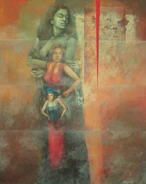 """Pintura titulada """"Relevo"""", una obra que insiste en esa dilatación de la vida, hecha de momentos reales y utópicos."""